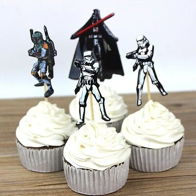 24 Pcs, Star Wars Cupcake Toppers Kids Birthday Party Supplies. - Kids Cupcake Wars