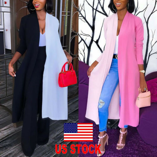 US Womens Loose Long Sleeve Cardigan Summer Kimono Shawl Top