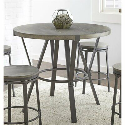 Bowery Hill Round Counter Height Dining Table in Gray