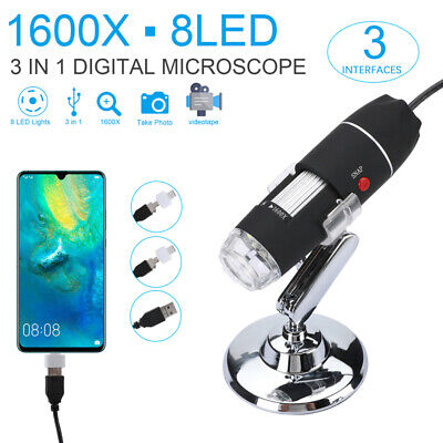 1600x Magnifier 8led Usb Digital Microscope Camera For Android Phone Mac Widows