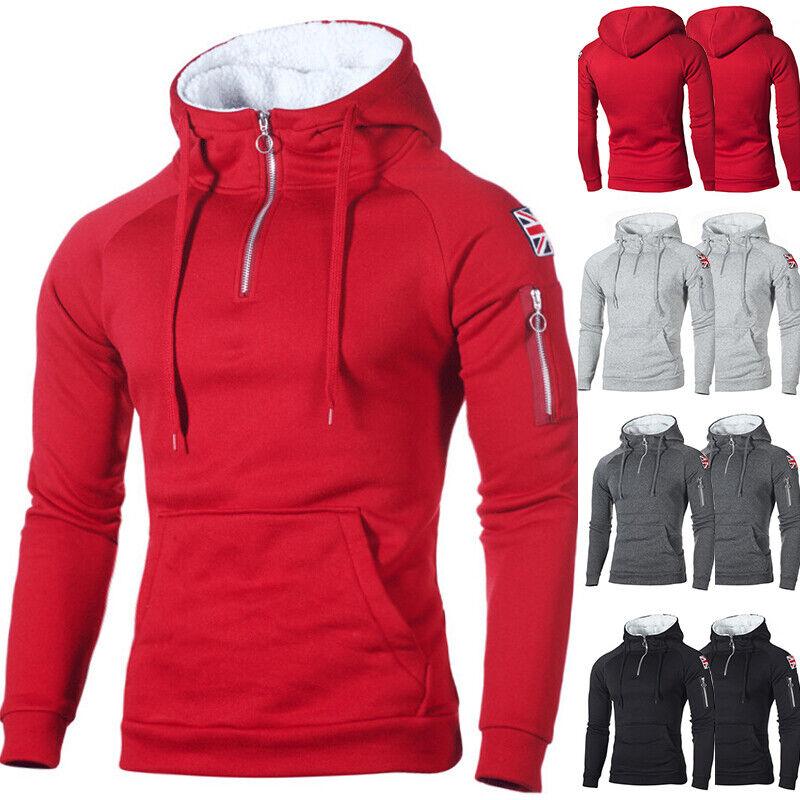 Herren Fleece Pullover Sweatshirt Pulli Winter Sport Hoodie Mantel Jacke Sweater