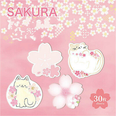 30 Pcs Sakura Cat Memo Pad Kawaii Paper Pad School Office Supplies Sticky Notes