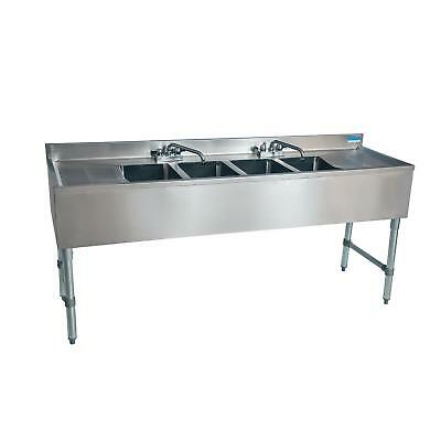 Bk Resources Bkubs-472ts 72w Four Compartment Stainless Steel Underbar Sink