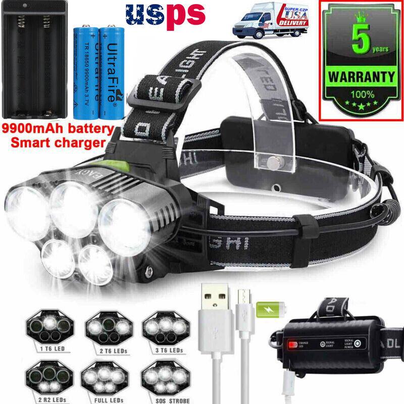 250000LM T6 LED Headlamp Rechargeable Head Light Flashlight