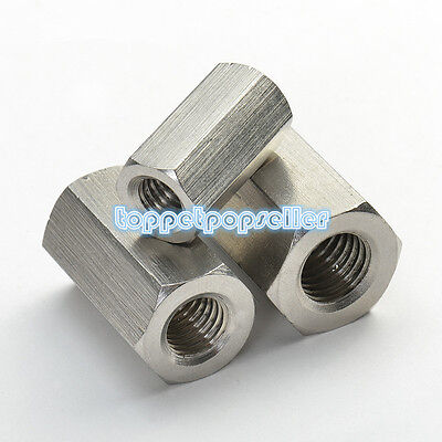 1Pc M5-M12 304 Stainless Steel Hexagon Coupling Nuts Threaded Rod Couplers