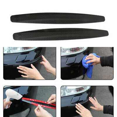 2X Accessories Carbon Fiber Car Bumper Corner Plate Anti Scratch Rubber -