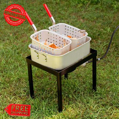 18 Qt. Outdoor Aluminum Dual Basket Fish Deep Fryer Cooker Kit Pot Propane Lp