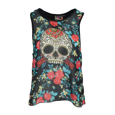 NewBreed   Day Of The Dead Womens Chiffon Front Tank](Day Of The Dead Women)