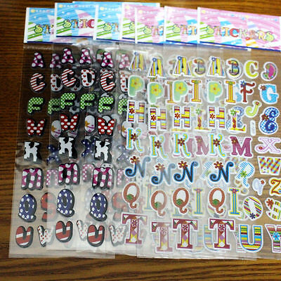 Cartoon English alphabet Letter Sticker Craft Bubble Stickers For kids 10 sheets