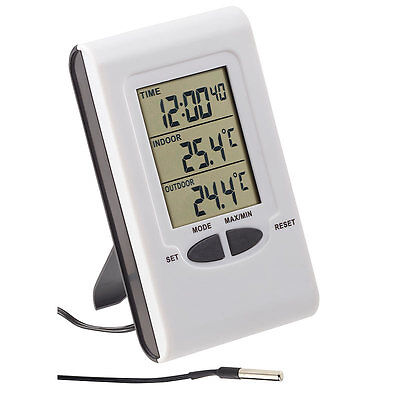 PEARL Digitales Innen- und Außen-Thermometer mit LCD-Display und Uhrzeit