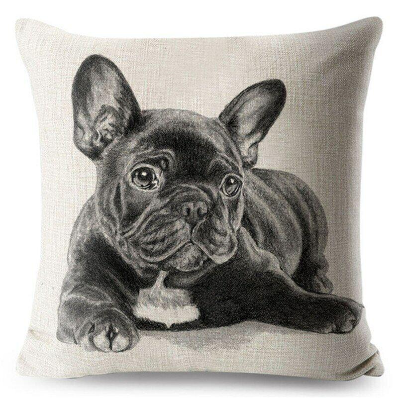 Taie d'oreiller housse de  coussin  chien bouledogue français 45x45 cm