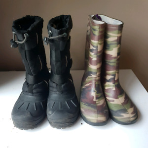 Boys Winter Boots and Rain Boots ~ 2 Pair ~ Size 3