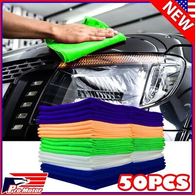 Polished Auto - 50 Pack Microfiber Cleaning Cloth No-Scratch Rag Car Polishing Detailing Towel