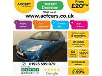 2013 BLUE CITROEN DS3 1.6 THP 155 DSPORT PETROL HATCH CAR FINANCE FR £20 PW