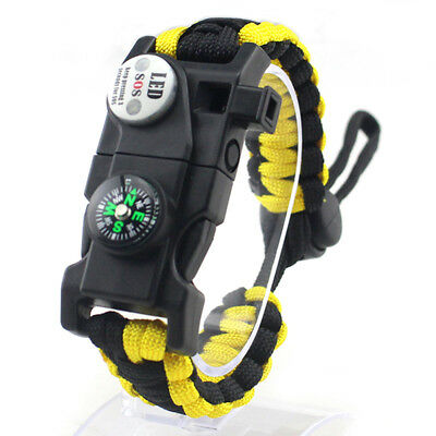 Survival Rope Paracord Bracelet Outdoor Hiking Compass Whistle Flint Fire Gear