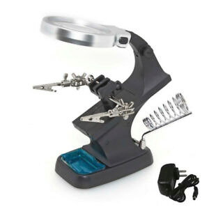 Adjustable Helping Third Hand with Magnifier and Light
