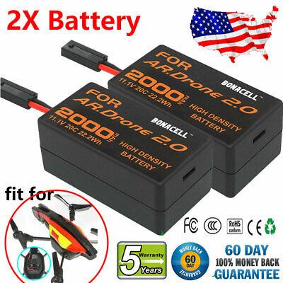 2 Pack 2000MAH Battery For Parrot AR 2.0 Drone Quadricopter 11.1V 20C Battery
