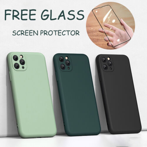 Case For iPhone11 Pro Max X/XR Liquid Silicone Shockproof Cover+Screen Protector