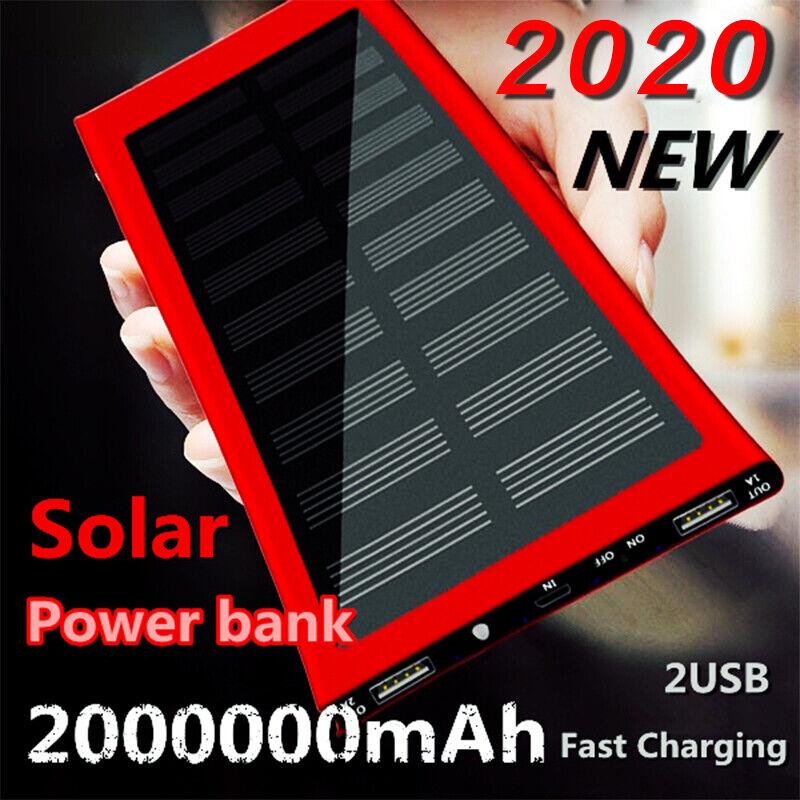 2000000mAh Solar Power Bank Cell Phone Flashlight Thin for S