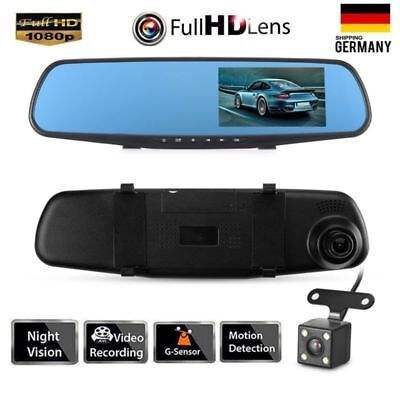 FHD 1080P Auto DVR Rearview Rückspiegel 4.3'' Video Dashcam Recorder KFZ Kamera