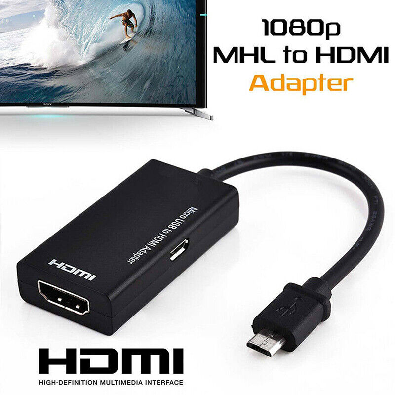 Micro USB 2.0 To HDMI HDTV TV HD Adapter Cable For Cell Phon