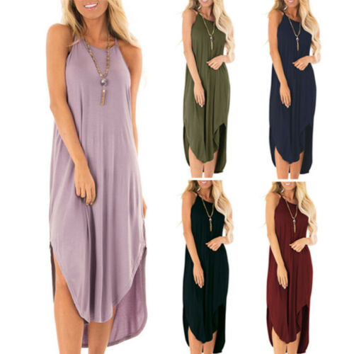Women Solid Crew Neck Sleeveless A Line Maxi Dress Causal Party Shirt Sundress Clothing, Shoes & Accessories