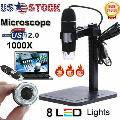 8led 1000x 10mp Usb Hd Digital Microscope Endoscope Magnifier Camera Us Stock