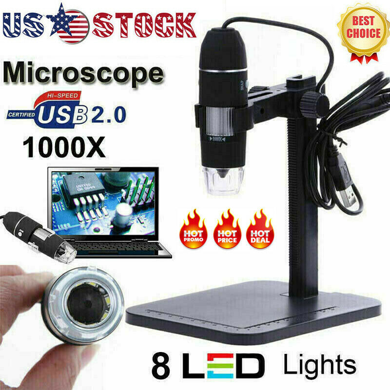 8LED 1000X 10MP USB HD Digital Microscope Endoscope Magnifier Camera US Stock