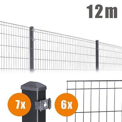12m Komplett Set Einzelstabmatten Höhe: 805 mm Zaun Doppelstabmatten ANTHRAZIT
