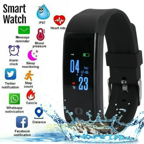 Waterproof Bluetooth Smart Watch Fit*bit Heart Rate Fitness Step Calories Tracke
