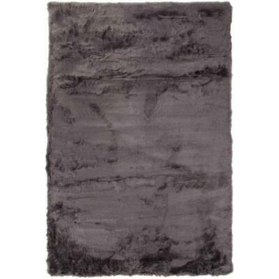 Abacasa Mink Charcoal Acrylic and Polyester Faux Fur Area Rug