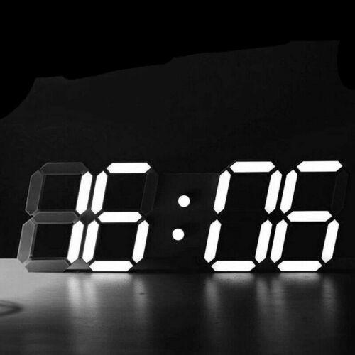 BU//WH Digital 3D LED Wall//Desk Clock Snooze Alarm Big Digits Auto Brightness USA