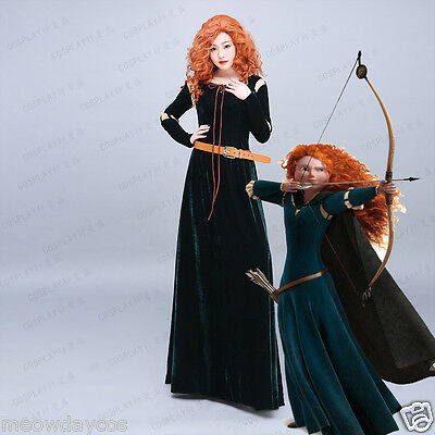 Merida Adult Dress Brave Princess Costume Belt Green Medieval Renaissance Dress - Adult Merida Brave Costume