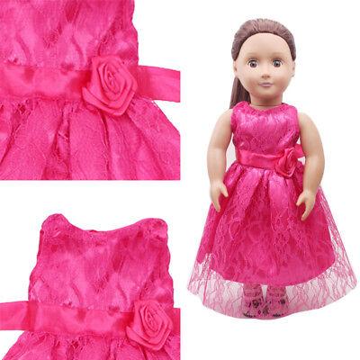Prinzessin Party Kleid Kleider Kleidung Schuh Halskette Krone für 18 Zoll Girl  ()