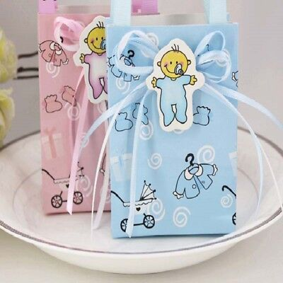 12pcs Baby Shower Paper Candy Box Gift Decoration For Baby Birthday Blue Rose - Baby Blue Candy For Baby Shower
