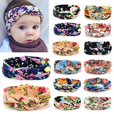 New Baby Girls Kids Floral Turban Knot Twist Headband Hairband Hair Accessories