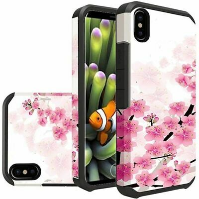 For Apple iPhone X/XS Pink Cherry Blossom Hard TPU Dual Layer Hybrid Case Cover Apple Iphone Cherries