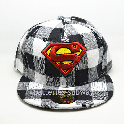 Costume White Black lattice Superman Snapback Adjustable baseball Flat Cap hat - Superman White Costume