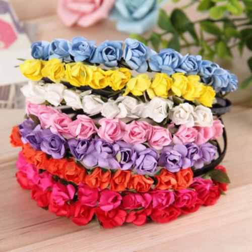 Girl Floral Headband Rose Flower Hairband Wedding Hair Garland Wedding Headpiece