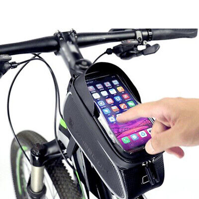 Schwarz Fahrrad Rahmentasche Wasserdicht Für 6,0 Zoll Handytasche Touchscreen