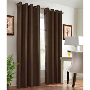 DRAPES (like new) - 1 pair - Chocolate Brown Grommet Blackout