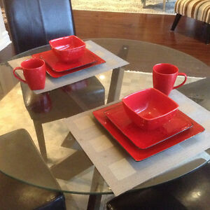 Red stoneware dishes mint condition by Chelsea
