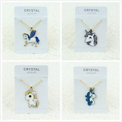 Woman Man Gold Chain Enamel Heart Unicorn Pendant Necklace Gift New Cute Jewelry - Unicorn Necklace