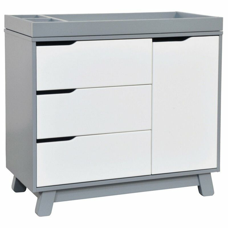 Babyletto Hudson 3 Drawer Dresser with Removable Changing Tray in Gray and White