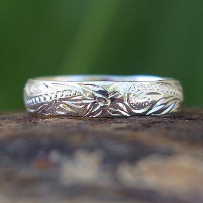 (Hawaiian 925 Sterling Silver Scroll Flower Jewelry Wedding Ring Band 4mm SR1141)