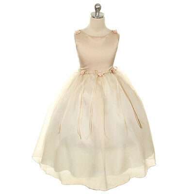 CHAMPAGNE Flower Girl Dress Formal Wedding Party Birthday Recital Pageant Dance