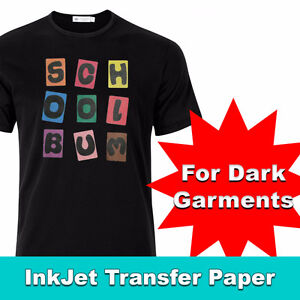 "INKJET OPAQUE STRETCH HEAT TRANSFER PAPER FOR DARK 8.5"" X 11"" X"