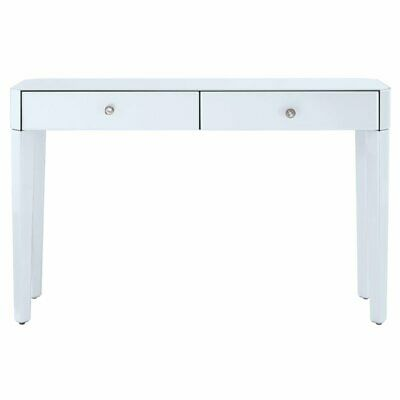 - Pulaski Reverse Painted White Glass Console in White