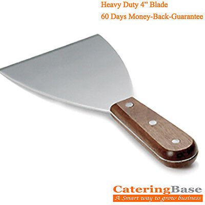 """Food Safe Stainless Steel Griddle Scraper with Wooden Handle- 4"""" wide Blade"""