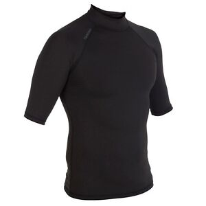 Tribord-Mens-Ladies-Sun-UV-Protection-Top-T-Shirt-Surf-Swim-Dive-Wetsuit-Black